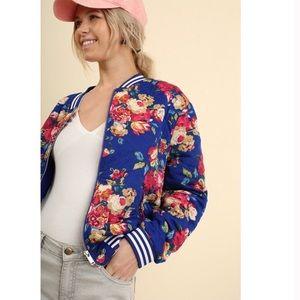 Jackets & Coats - Bomber Jacket Royal Blue Floral Pockets Sm Med